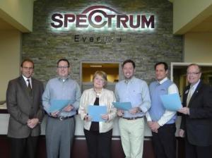 The family of Dr. Terry Schultz recently created a scholarship fund to assist students attending medical or optometry school. Pictured from left are: Dr. Henry Molé, Tommy Schultz, Brenda Schultz, Dr. James Schultz, Dr. Chris Colburn and Randy Sweeney, Community Foundation executive director at Spectrum Eyecare.