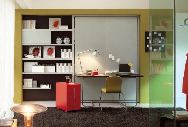 armoire lit avec bureau design escamotable