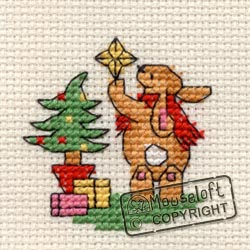 Christmas Cross Stitch Card Kit - Bunny's Decorations-0