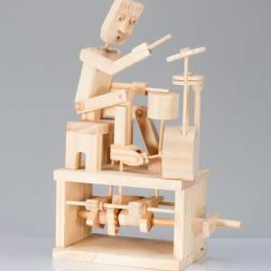 Drummer Wooden Automata Kit-0