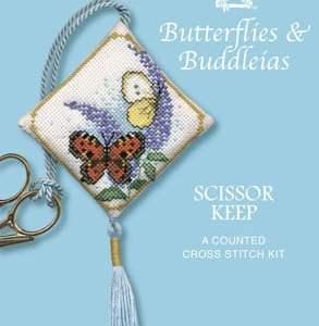 Cross Stitch Scissor Keep - Butterflies and Buddleia-0