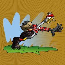 Communication BD: Mascotte oie en pleine action - rugby