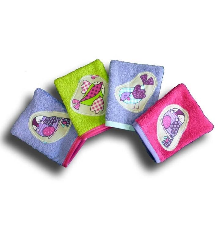 gant de toilette animaux lot 4 gants motif piou piou