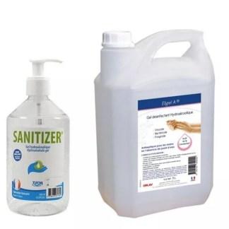 gel hydroalcoolique eligel A et sanitizer