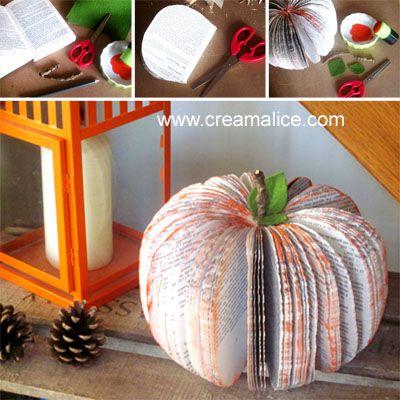 diy citrouille r cup avec un vieux livre de poche. Black Bedroom Furniture Sets. Home Design Ideas