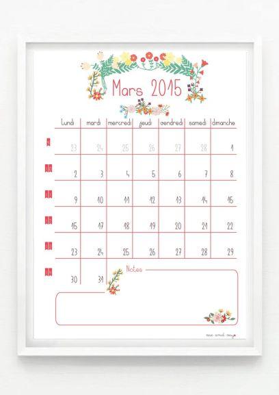 Calendrier à imprimer gratuitement Mars 2015