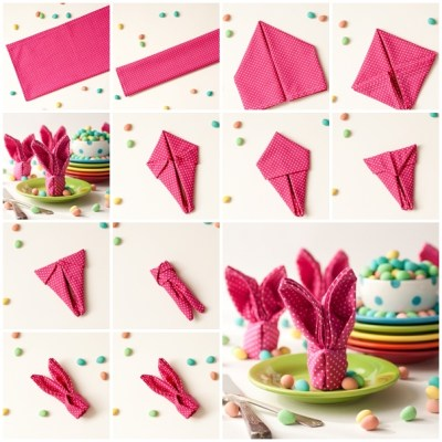 diy pliage serviette lapin