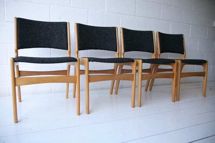 1960s Oak Dining Chairs Cream And Chrome