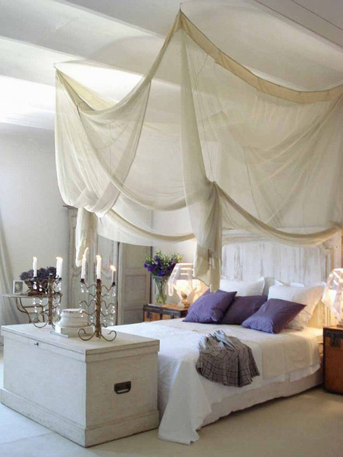 Bedroom Design Ideas Sheer Floating Elegant Canopy Above White bed with Purple Pillows