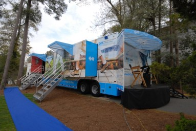 Marketing mobile for Blue Cross Blue Shield custom fabricated by Creatacor, a New York-based trade show and display specialist.