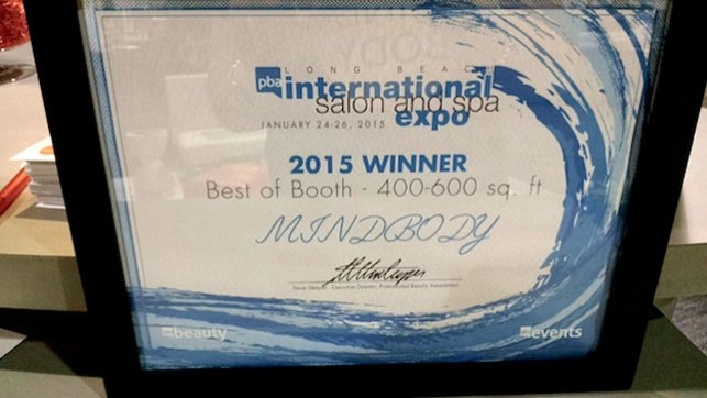 MINDBODY wins best booth in the 400-600 sq. ft. as ISSE