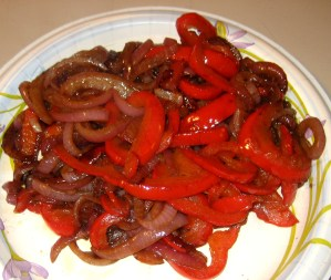 Step 4 - Onions & Red Bell Peppers After Sauteing & Caramelization