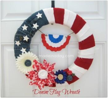 Kim - Made In A Day - Denim Flag Wreath