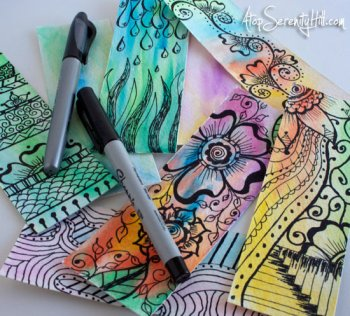 Doodled Watercolor Bookmarks