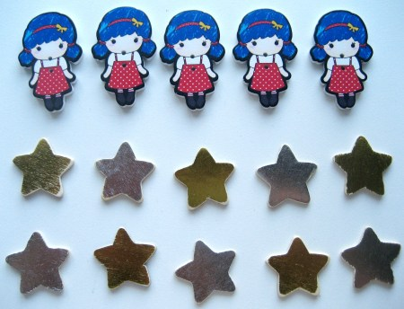 Wholeport Girl and Star Buttons