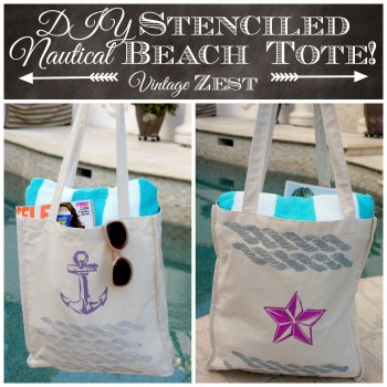 Stenciled Beach Tote