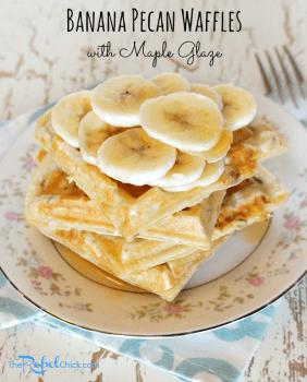 Maple Glazed Banana Pecan Waffles