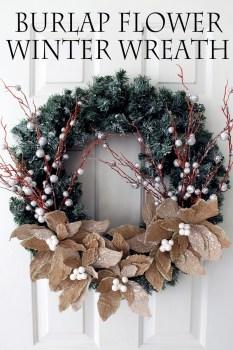 Burlap Winter Wreath
