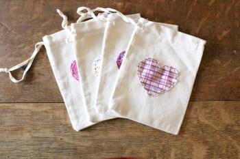 Fabric Heart Treat Bags