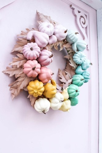 Rainbow Pumpkin Wreath