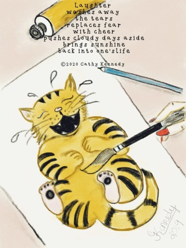 Laughing-Cat-sketch-with-Laughter-poem-scaled