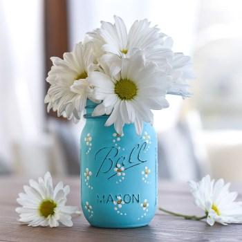4 - Painted Daisy Mason Jar