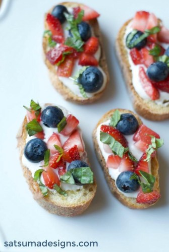 Red White and Blueberry Bruschetta