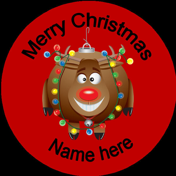 D004 Personalised Christmas Badge Rudolph With A Bauble
