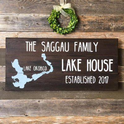Casual Last Name Stained With White Lettering | Lake House SIgn