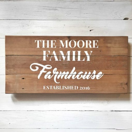 Farmhouse Established Sign Family Name Gift Custom | Personalized Signs
