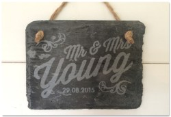Etched slate sign celebrating the marriage of Mr & Mrs Young