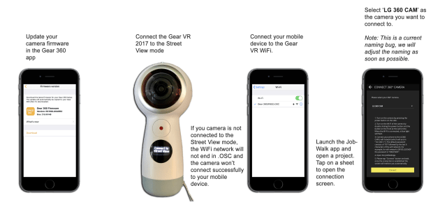 Connect your Samsung Gear 360 2017 camera to the JobWalk app