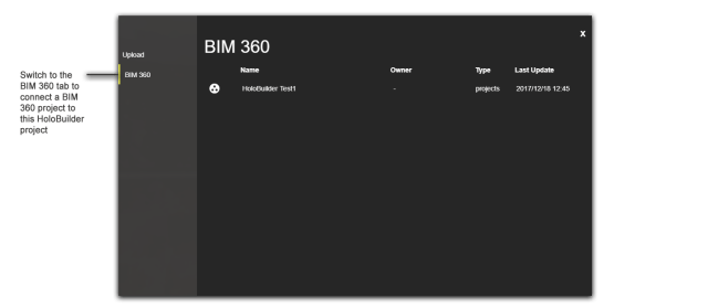 Add a BIM 360 project to this HoloBuilder project