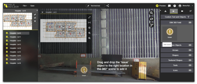 Drag & drop the issue action object to add a BIM 360 Field issue within your HoloBuilder project