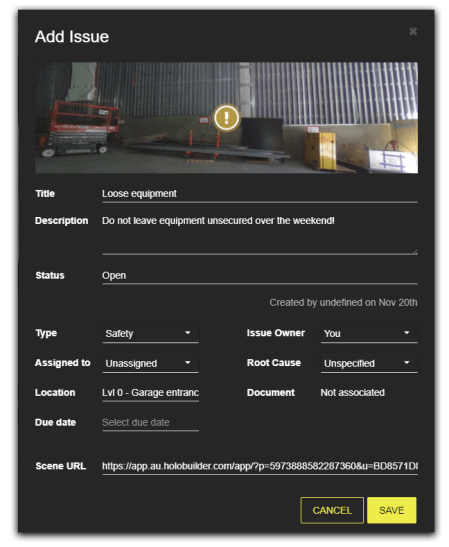 Add an Autodesk BIM 360 Field Issue in your HoloBuilder project