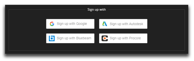 Sign up to HoloBuilder with your Google, Autodesk, Bluebeam or Procore account