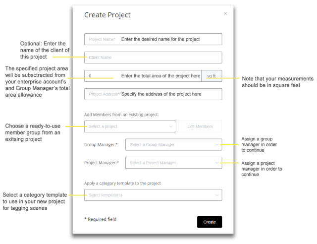 Create a new project in the dashboard