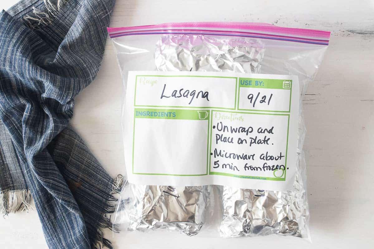 ziplock bag with lasagna label