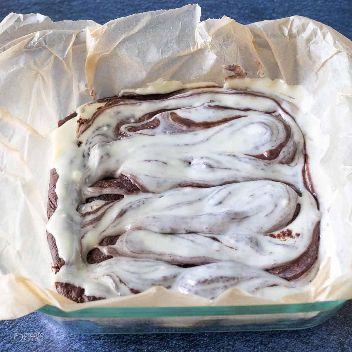 swirled chocolate in fudge batter