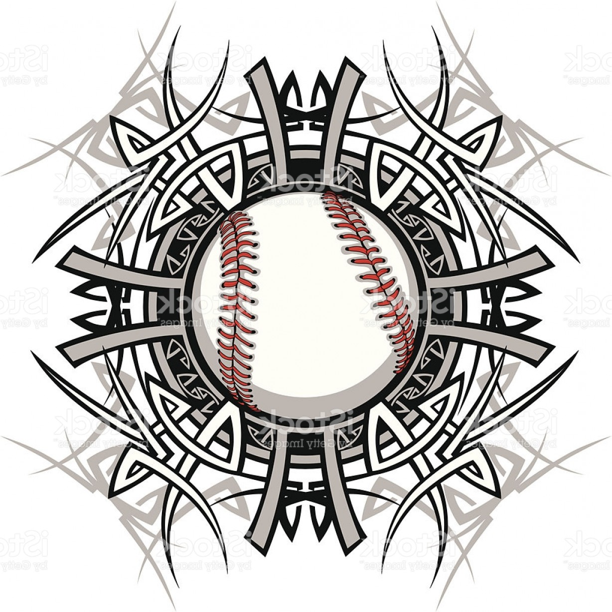 Softball Laces Vector Art B W