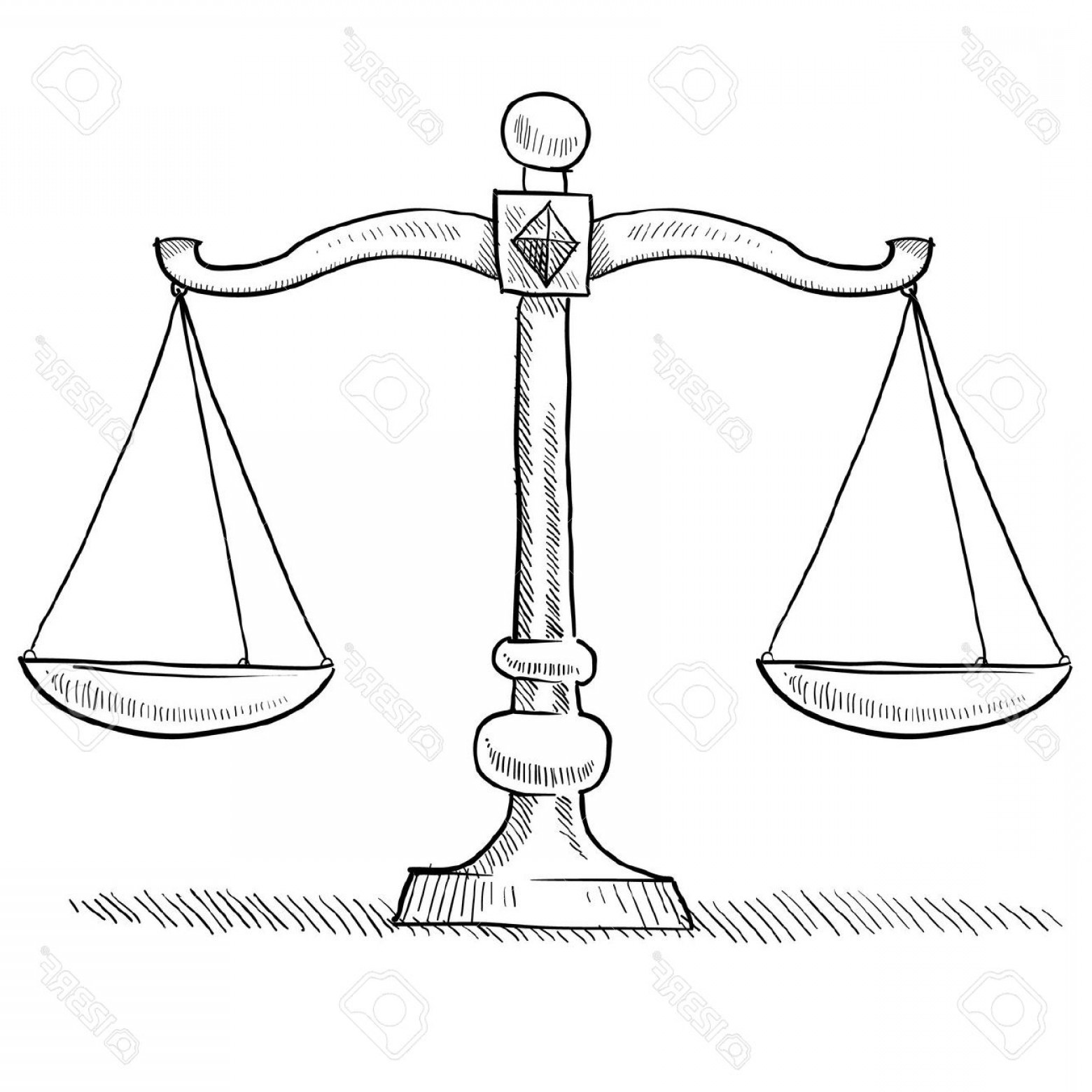 Photodoodle Style Scales Of Justice Vector Illustration