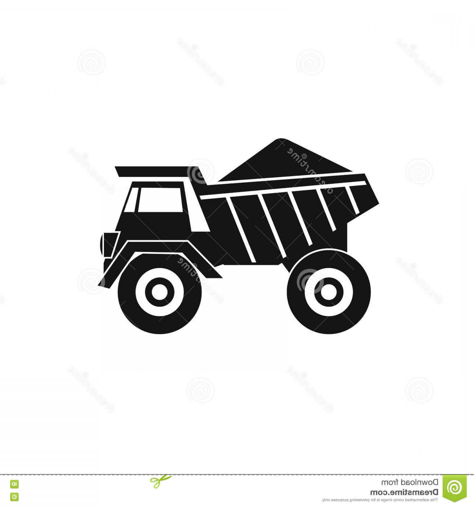 Dump Truck Vector Black And White