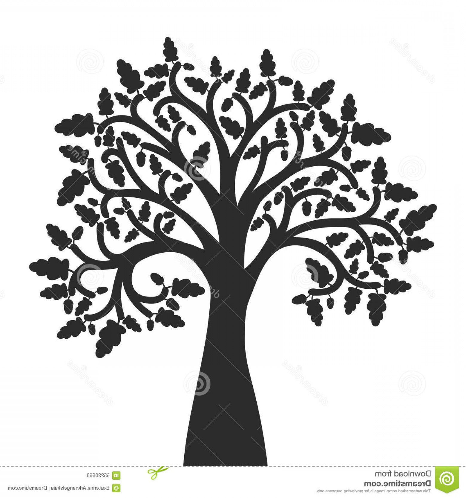 Oak Tree Silhouette Vector Graphics