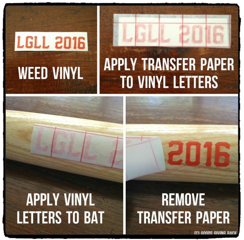 Four step process to make a baseball coach gift with vinyl letters.