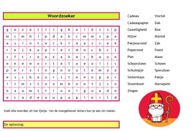 Woordzoeker Sinterklaas - Download gratis op onze site