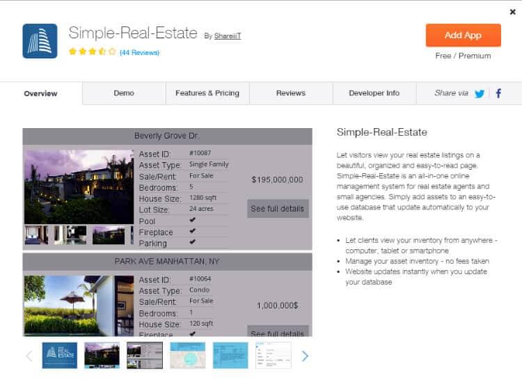 Real Estate Website Builder Agent Wix APP