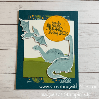 Learn how to make Three cute cards using the Dinoroar suite from Stampin' Up!