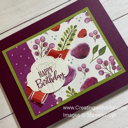 Birthday card using the Peaceful Poppies Suite from Stampin Up!