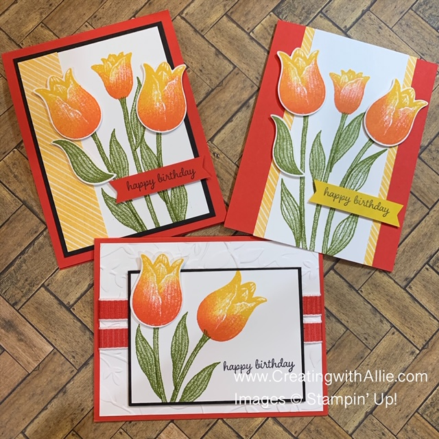 Birthday card using Timeless Tulips stamp set from Stampin' Up!