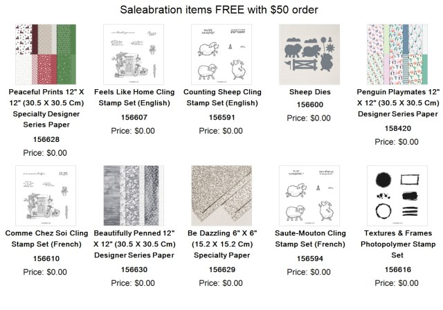 FREE Saleabration items with $50 purchase
